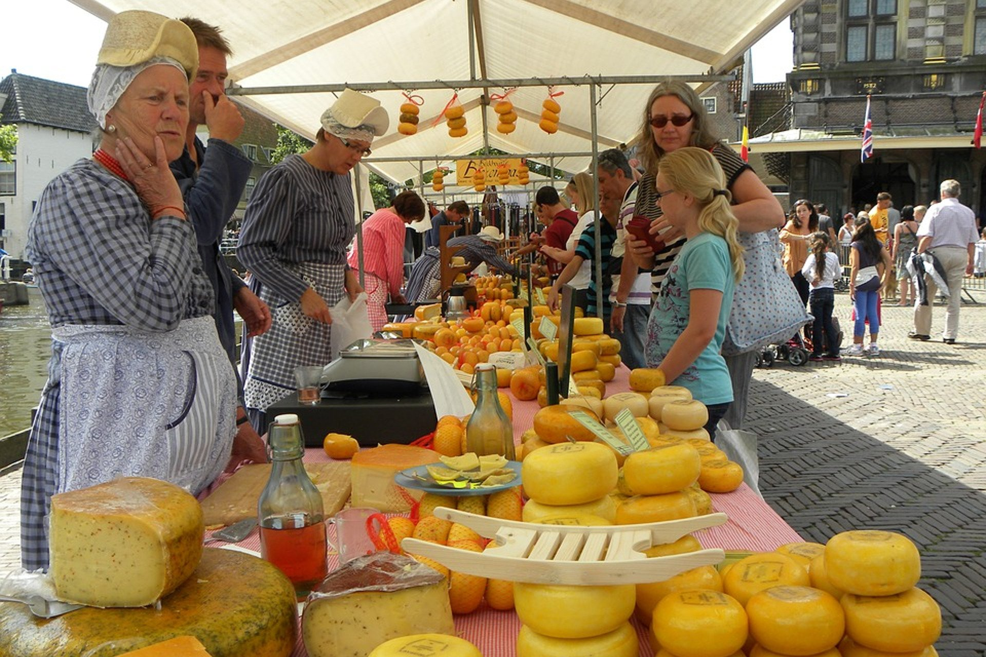 a cheese maker's stall during an open-air market