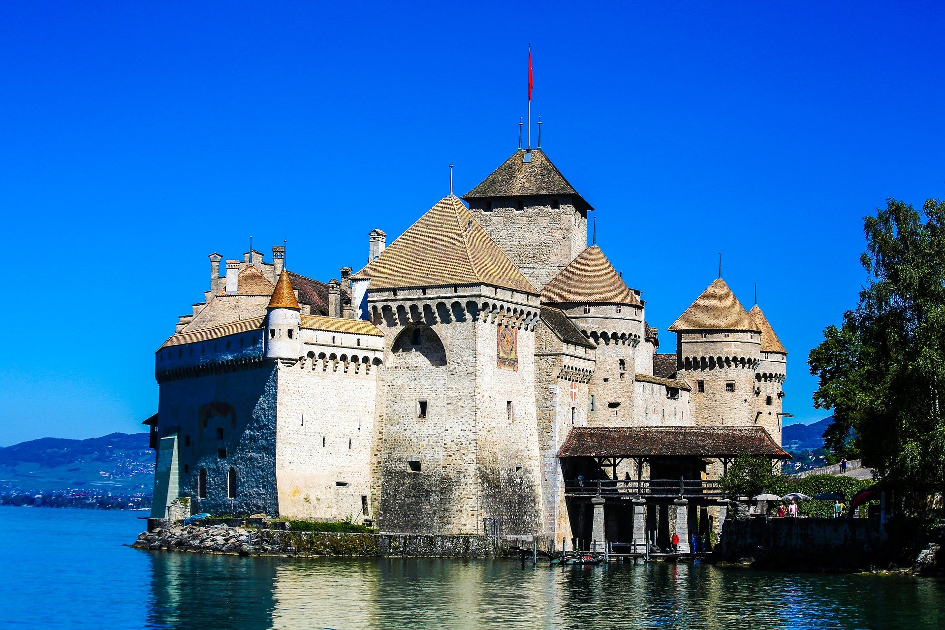 Château de Chillon on the shore of Lake Geneva