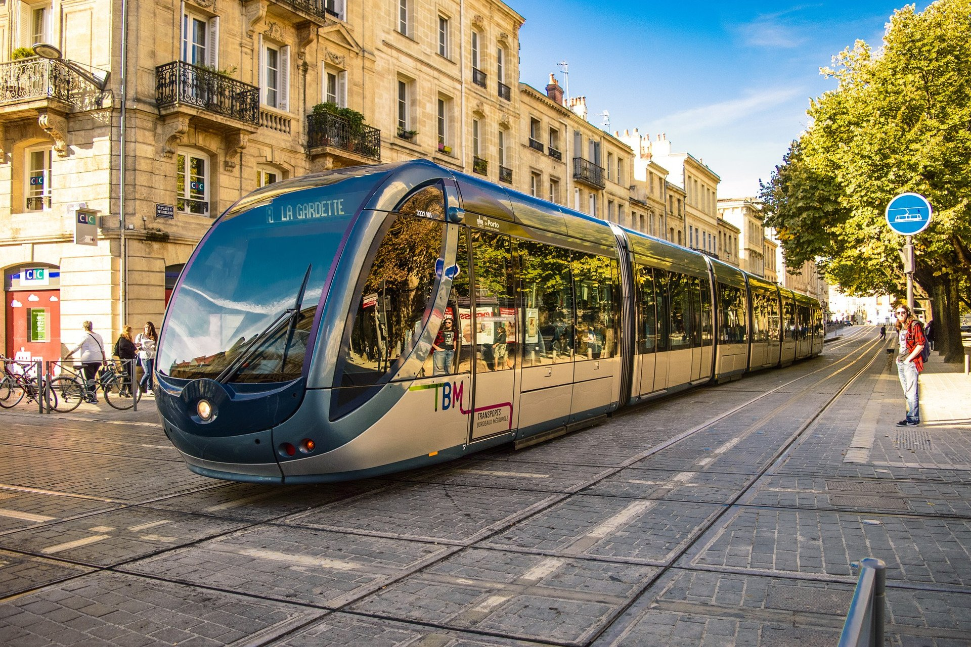 Tram in Bordeaux city center