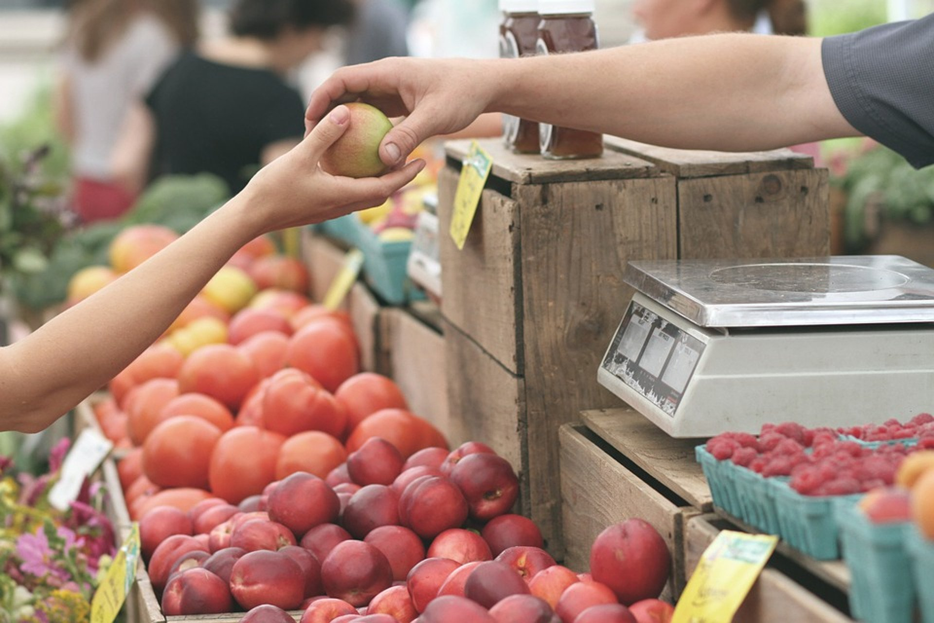 an apple changing hands during a market