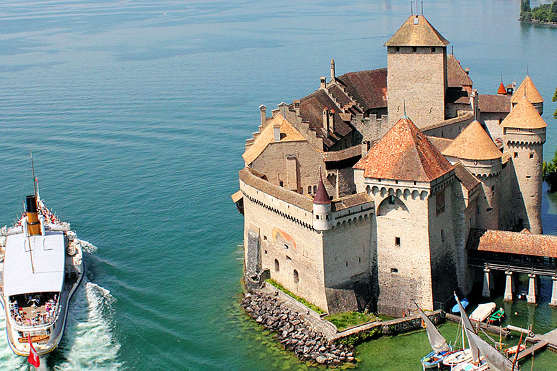 Aerial view of a boat near Château de Chillon