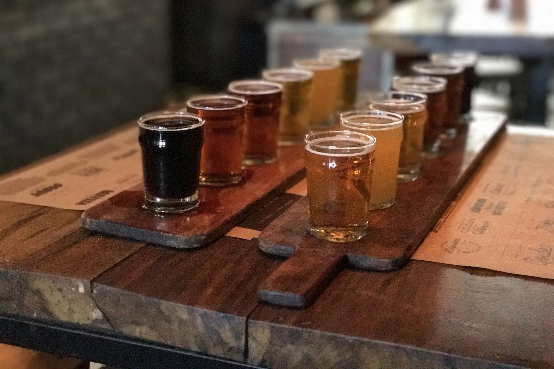 beer tasting with several types