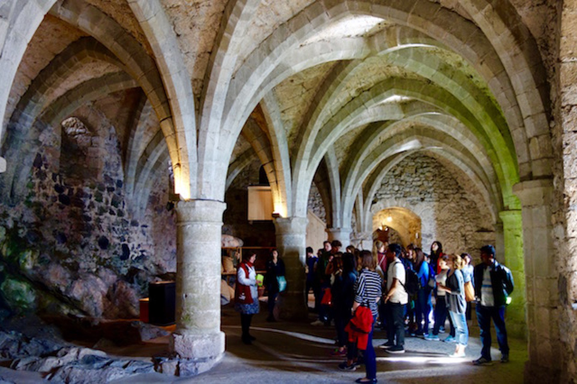 The stone vaults in the heart of the medieval fortress of Château deChillon