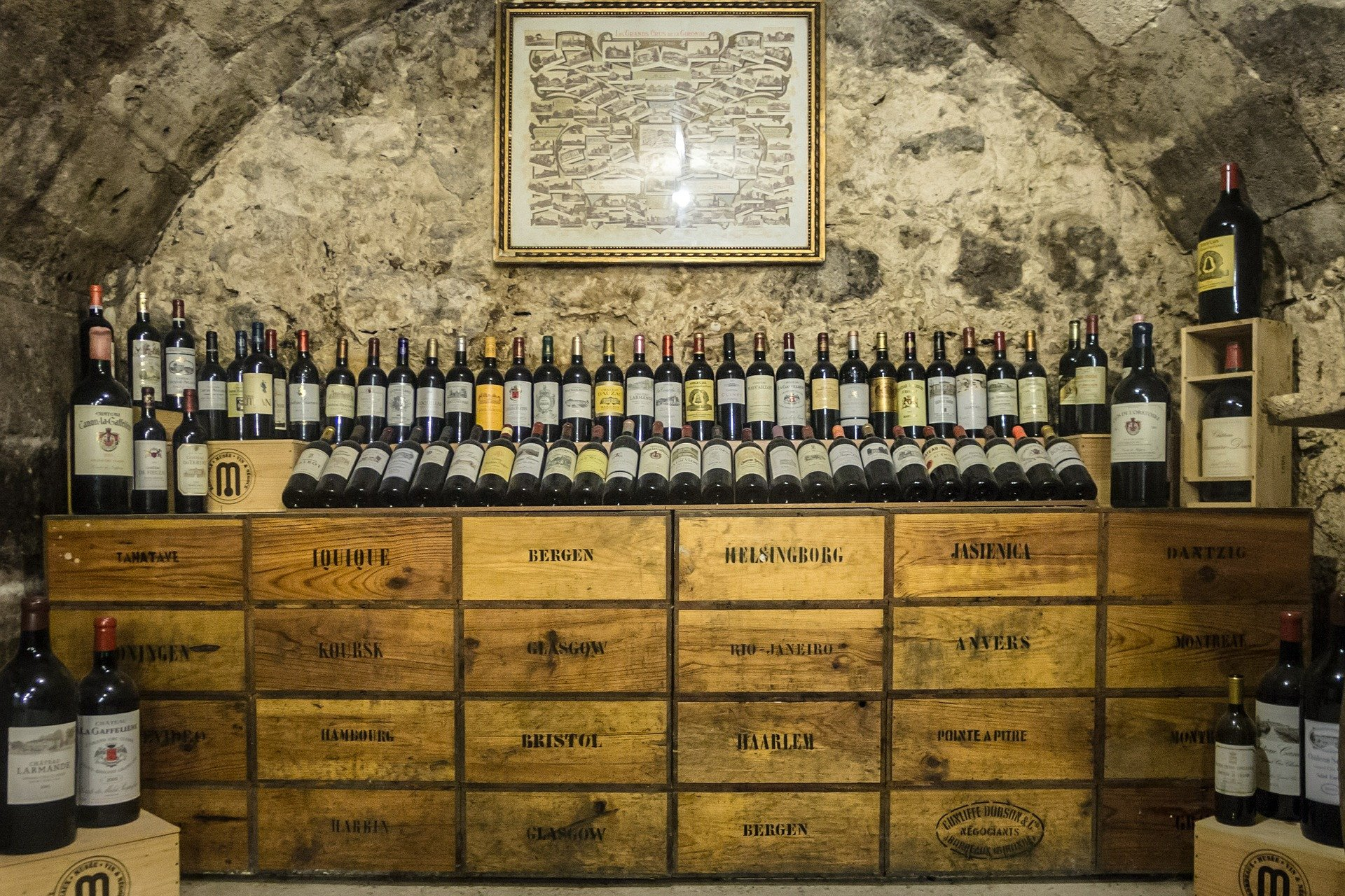 Cellar with plenty Bordeaux red wine bottles